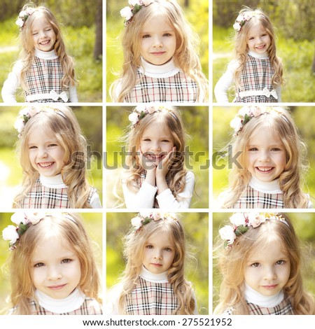 Collage of photos with cute kid girl 3-4 year old having fun outdoors. Positive emotions. Smiling baby. Blonde child. Childhood. Playful. - stock photo