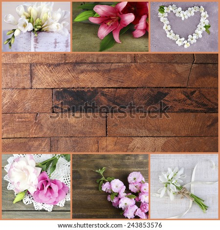 Collage of photos with flowers on wooden background - stock photo