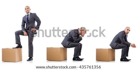 Collage of photos with man and boxes - stock photo