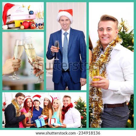 Collage of photos with New Year celebration in office - stock photo