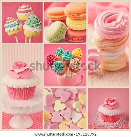 Collage of photos with pastel colored cupcakes and meringue  - stock photo