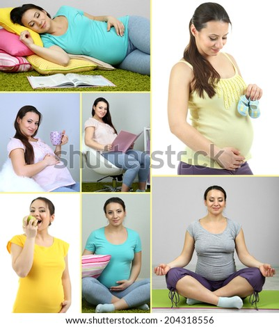 Collage of photos with pregnant girls - stock photo