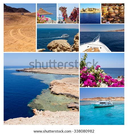 Collage of pictures from Egypt holidays. Sharm El Sheikh - stock photo