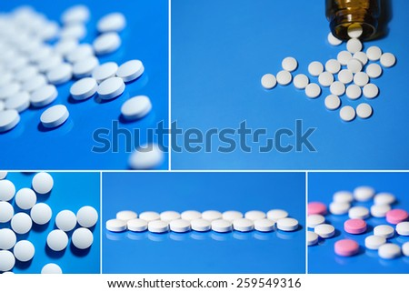 Collage of pills. White pills on a blue background. - stock photo