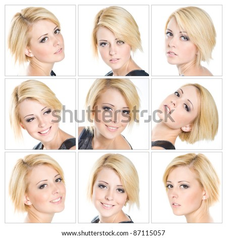 Collage of portraits of a beautiful young blond woman
