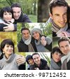 collage of portraits of a couple in the countryside - stock photo