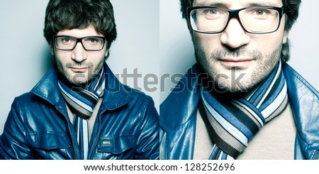 Collage of portraits of a fashionable handsome man in blue jacket with striped scarf over light blue background. Close up. studio shot