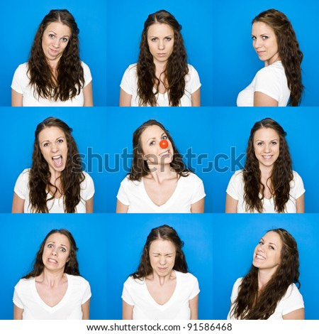 Collage of portraits on a young girl towards blue background - stock photo