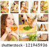 Collage of pregnant woman on kitchen with fresh vegetables.The concept of food and  healthy lifestyle - stock photo