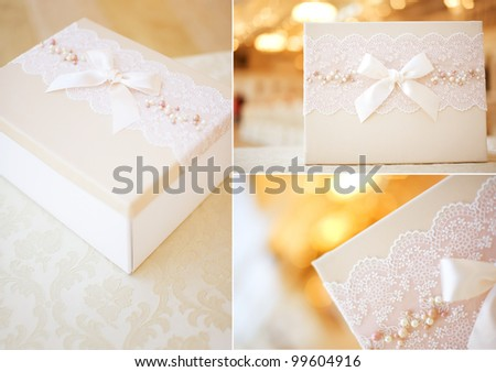 Collage of present boxes. With a whirling pattern - stock photo