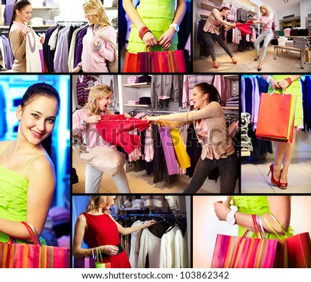 Collage of pretty girls doing shopping in department store - stock photo