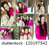 Collage of pretty girls in winter park - stock photo