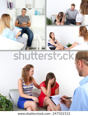 Collage of psychologist consulting - stock photo