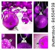 Collage of purple  christmas decorations on different backgrounds - stock photo