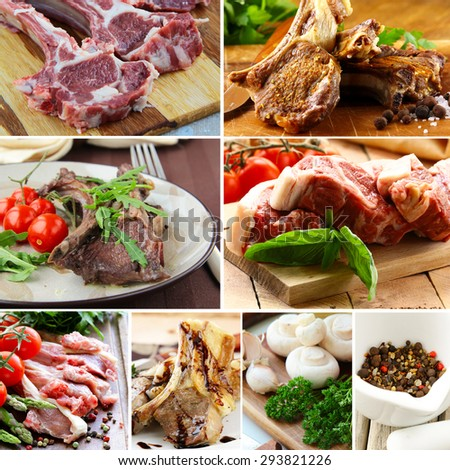 collage of raw and cooked lamb meat with spices and vegetables