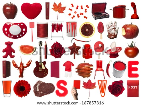 Collage of Red Objects on white background - stock photo