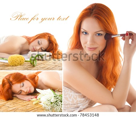 Collage of redhead getting spa procedures - stock photo
