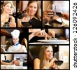 Collage of restaurant images - stock photo