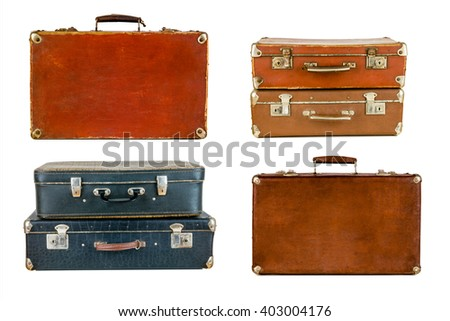 Collage of retro travel suitcases isolated on white. Set of old suitcases. Brown and black retro suitcase. Vintage baggage. Vintage travel bags. - stock photo
