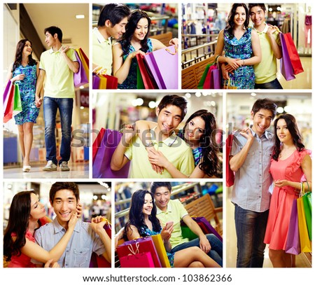 Collage of romantic couple with shopping bags spending time in the mall - stock photo
