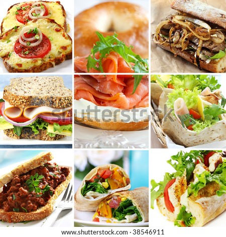 Collage of sandwiches, including wraps, baguettes, bagels, pita and wholewheat bread. - stock photo