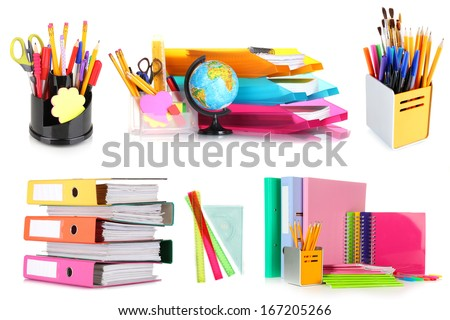 Collage of school and office supplies isolated on white - stock photo
