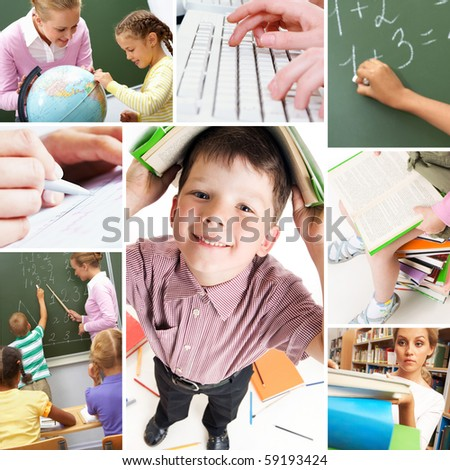Collage of schoolchildren and studying process moments - stock photo