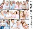 Collage of senior and young couples with their children looking at camera at home - stock photo