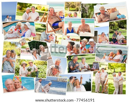 Collage of senior couples spending time together outdoors - stock photo
