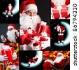 Collage of seven images with Santa Claus - stock