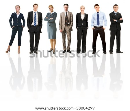 Collage of several business people in different poses - stock photo