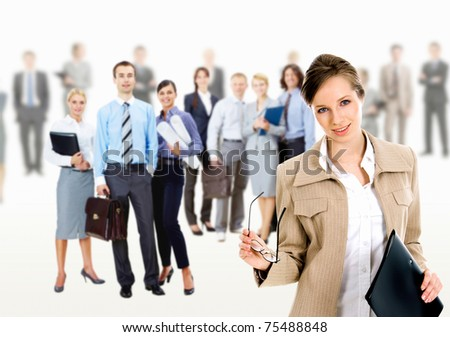 Collage of several business people in different poses with pretty leader in front - stock photo