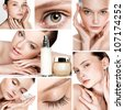 Collage of several photos for beauty industry - stock photo