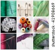 collage of sewing equipment - stock photo