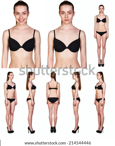 Collage of sexy woman with black underwear isolated on white background. Full body portrait. - stock photo