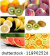 collage of six fruit images - stock photo