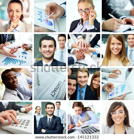 Collage of smart businesspeople, business objects and hands of co-workers - stock photo