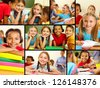 Collage of smart schoolchildren at lesson in classroom - stock photo