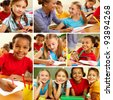 Collage of smart schoolchildren at school - stock photo