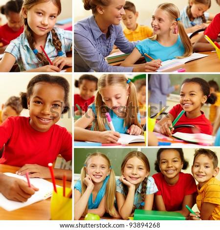 Collage of smart schoolchildren at school - stock photo