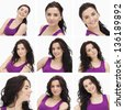 Collage of smiling woman with dark curly hair and purple shirt on white background - stock photo