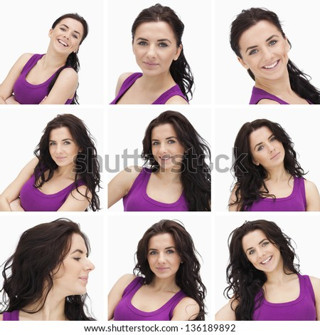 Collage of smiling woman with dark curly hair and purple shirt on white background