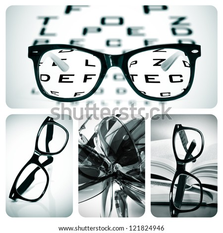 collage of some different pictures about optometry and eyeglasses - stock photo