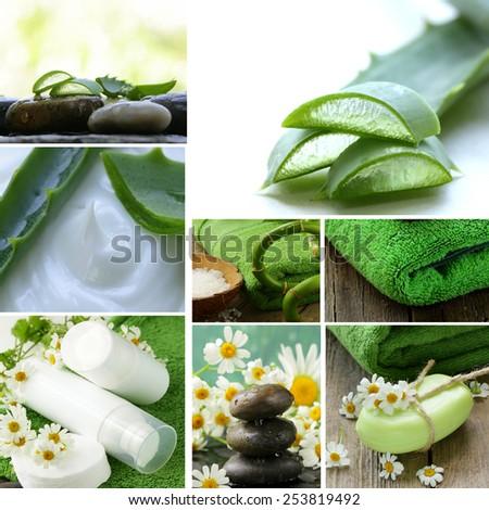 collage of spa concept - towel, aloe vera, cosmetic cream lotion, stones  - stock photo