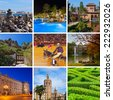 Collage of Spain images - nature and architecture background (my photos) - stock photo