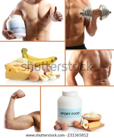 Collage of sportsmen and sport nutrition - stock photo