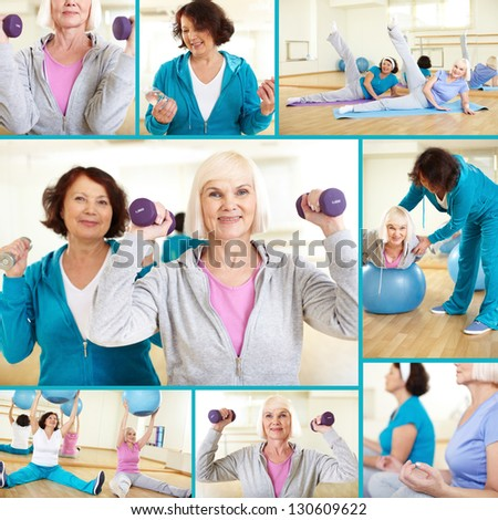 Collage of sporty females doing physical exercises in sport gym - stock photo
