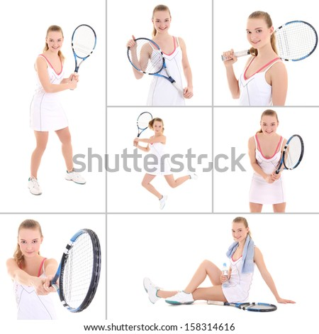 collage of sporty pictures: young beautiful tennis player isolated on white background - stock photo