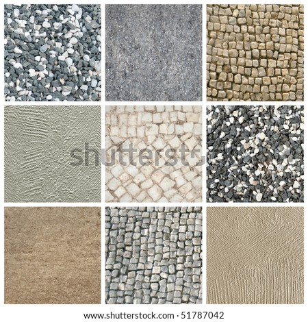collage of stone and granite. mixed textures - stock photo