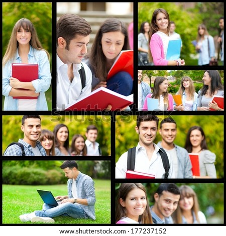 Collage of students pictures - stock photo